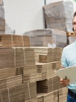 Man using voice technology in the warehouse